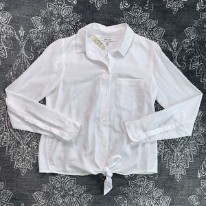 Madewell Tie Front Button Down Long Sleeve Shirt S